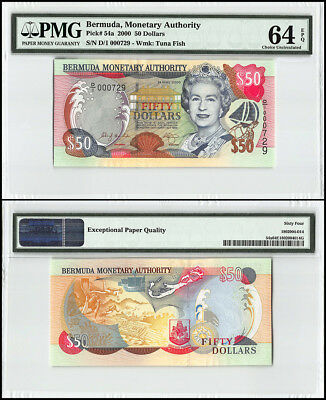 Bermuda 50 Dollars, 2000, P-54a, Queen Elizabeth II, Low Serial # 000729, PMG 64