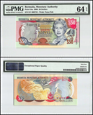 Bermuda 50 Dollars, 2000, P-54a, Queen Elizabeth II, Low Serial # 000733, PMG 64