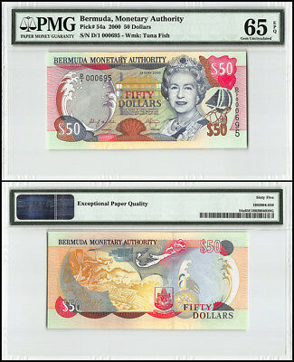 Bermuda 50 Dollars, 2000, P-54a, Queen Elizabeth II, Low Serial # 000695, PMG 65
