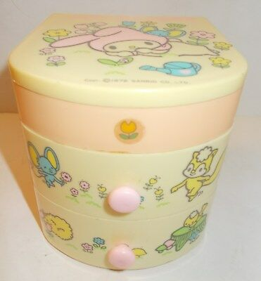 Vintage Sanrio My Melody And Friends Mirror w/ 2 Pull Out Drawers 1976 Japan