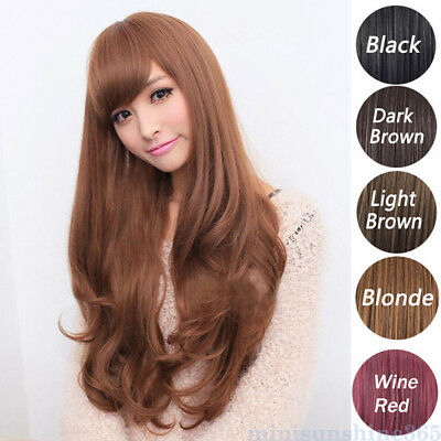 Women Fashion wavy Curly Long Hair Full Wigs Hairpiece Cosplay Party Wig 65cm