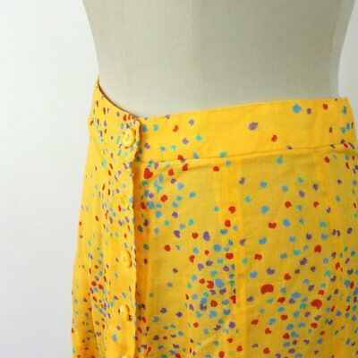 Vintage 50s Yellow Circle Skirt Button up fifties Mid Century Print Pastel 60s