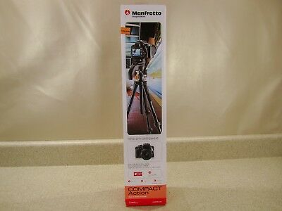 """*READ Manfrotto 60"""" Compact Action Aluminum Tripod Stand Black MKCOMPACTACN-BK"""