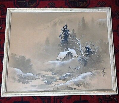 Japanese Framed Silk Landscape Watercolor Painting of Snowfall Fine Art 15 x 18""