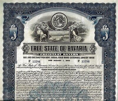 Free State of Bavaria, 6 1/2% Gold Bond, Freistaat Bayern 1925 (1.000 $) unc.