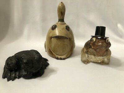 Mixed Lot Of FROG Collectibles~ Bell, Coal, Glass FROG COLLECTOR