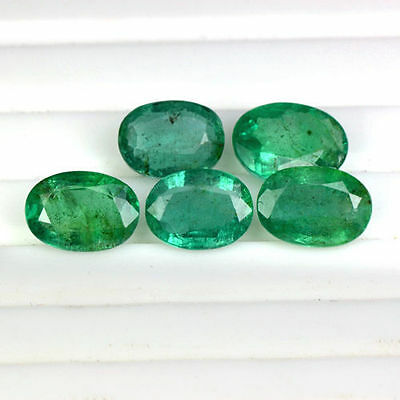 7.19 Cts Natural Green Emerald Loose Gemstone Oval Cut Lot 8x6 to 9x7 mm Zambia
