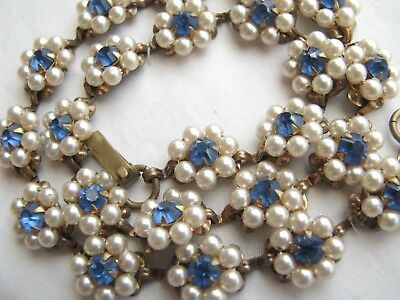 Vintage Faux Pearl Cluster Flower Blue Rhinestone ART DECO Necklace