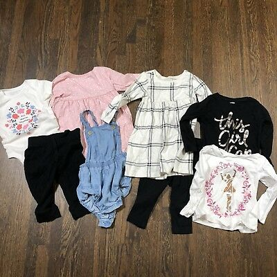 Old Navy Baby Girl 8 Piece Lot Sz 6-12 12-18 18-24 Months Shirts Dresses Romper