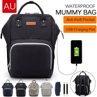 Luxury Multifunctional Baby Diaper Nappy Backpack Waterproof Mummy with USB port