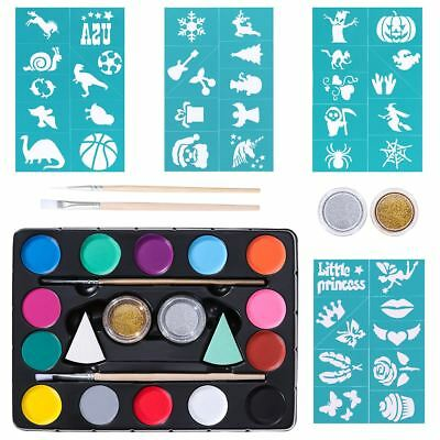 14 Colors Face Body Paint Oil Painting Art Make Up Halloween Party Brushes Set
