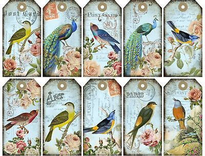 Peacocks Birds /& Roses Tags Glossy Finish Card Topper Crafts Embellishment
