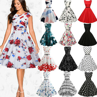 Womens 50s 60s Vintage Bodycon Floral Cocktail Evening Party Formal Swing Dress