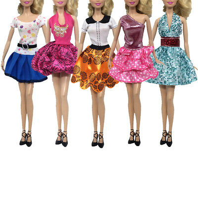 "5Pcs Handmade Doll Dress Clothes for 11"" 30cm Barbie Doll Party Gown Clothing SH"