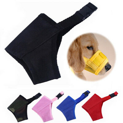 SOFT Nylon Adjustable ANTI Bite Bark DOG SAFETY MUZZLE Breathable Mesh MUZZEL