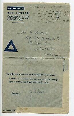 GB postal stationery air letter aerogramme used 1945 Field Post Office (Q520)