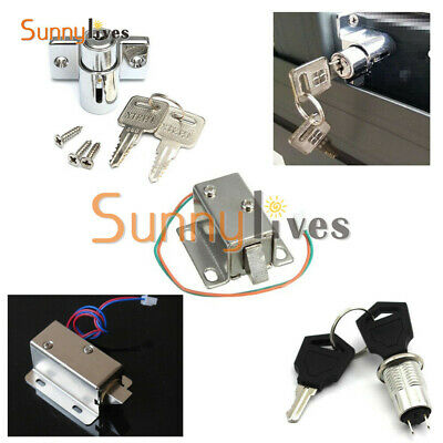 Aluminum Catch Push Lock S1203 Electric Solenoid Lock Assembly DC 12V 0.6A/350mA