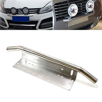 Car Bull Bar Front Bumper License Plate Mount Bracket Work LIght Holder Chrome
