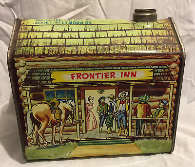 "Vintage Towle's Log Cabin Syrup Litho Tin 1 QT, 1Pt 10oz, ""Frontier Inn Scene"""