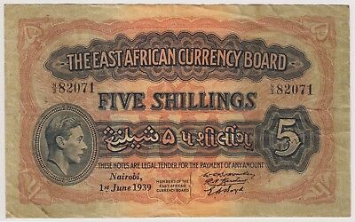 British East Africa Banknote 5 Shillings 1939 P28 VF King George Rare Lion