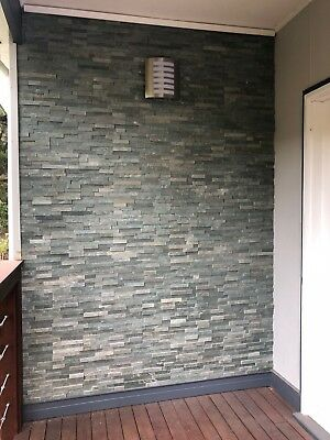 Stacked Stone Slate Wall Tiles Sea Green