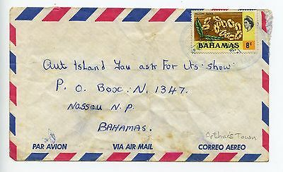 Bahamas cover used Arthur's Town c1980 -  looks like stamp was reused (L125)