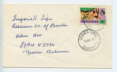 Bahamas cover used Grants Town 31mm CDS 1972 (N126)
