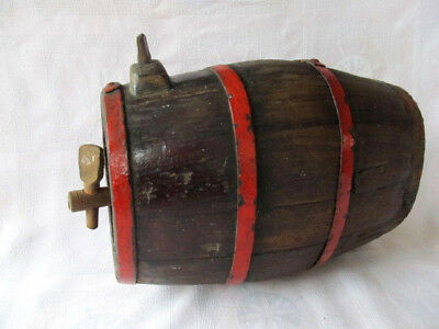 Very Rare Antique Old Hand Carved Iron Banded Wooden Canteen Flask Keg