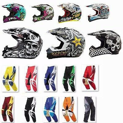 MX offroad motorbike pants helmet jersey gloves boys youth kids girls combo set