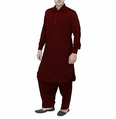 Indian Men's Kurta Solid Casual Shirts Maroon Color Shirt Tunic Top All Size