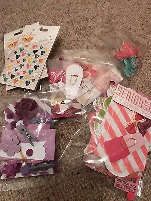Scrapbooking/card mixed embellishments - pink & purple packs. Heaps of things