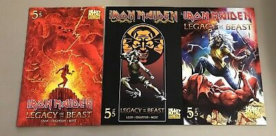 3x IRON MAIDEN LEGACY OF THE BEAST 5; A CASAS B C GORDNER VARIANT Heavy Metal