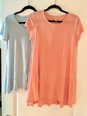 Comfortable Zulily Maternity loungewear Crew-Neck Pocket Tunics Lot Of 2 Size L