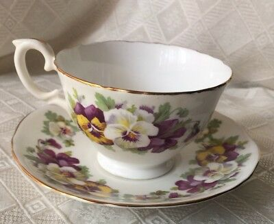 Crown Staffordshire Teacup & Saucer fine bone china, Purple, Whte, Yllw Pansies
