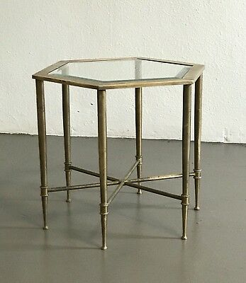 Vintage Mastercraft Brass Hexagon Side Table