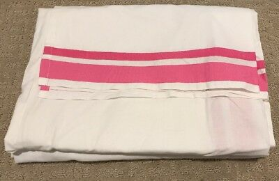 POTTERY BARN KIDS BABY HARPER CRIB BED SKIRT White /Pink Ribbon 28x52x16""