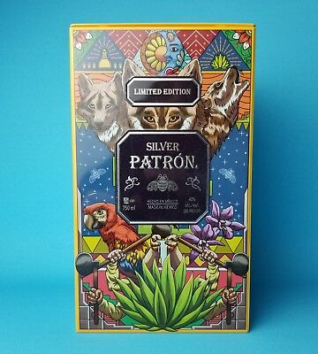 Patron Tequila Limited Edition Collectible Empty Metal Square Box Tin Mexico Art