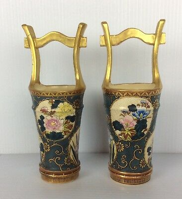 Japanese antique Satsuma PAIR hand painted signed vases