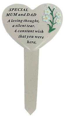 Special Mum and Dad Graveside Heart Memorial Plaque Frame Stake Grave Tribute