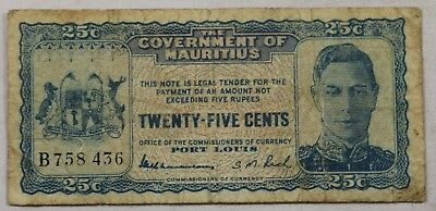 Rare 1940 Mauritius 25 Cent Note Rare Issue B Prefix