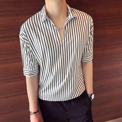 Summer Mens BF Style Korean Short Sleeve Casual Shirt Top Lapel Blouse Tops N030