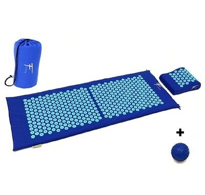 Kit d'acupression XL acupuncture massage relaxation sport 130x50x2,5cm bleu/turq