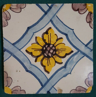 "Antique Portugese Tile. 5 1/2"" Yellow and Blue"