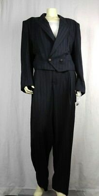 Le Chateau Suit Crop Jacket Sz 42/High Waisted Pants Sz 36 Vintage 80/90s Black