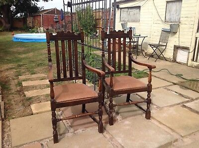 Pair of antique oak high back carver chairs in excellent original condition