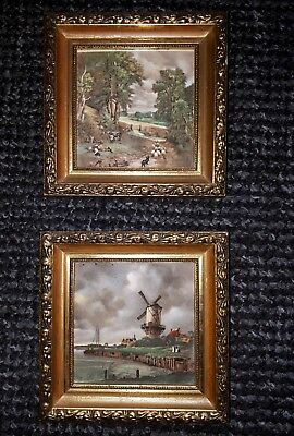 3x hand painted staffordshire enamel pictures