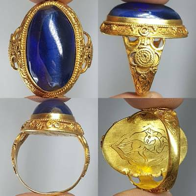 Genuine Ancient Sapphire Stone 22k Solid gold Roman Ring 15.17 grams   # 1L