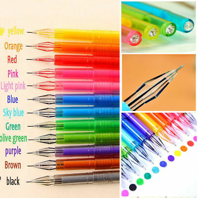 12Pcs set Diamond Gel Pen Refill School Supplies Draw Colored Pens Students New