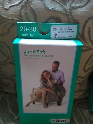 Juzo Soft Compression Thigh High Stockings Short, 20-30mmHg Open Toe, Size lll
