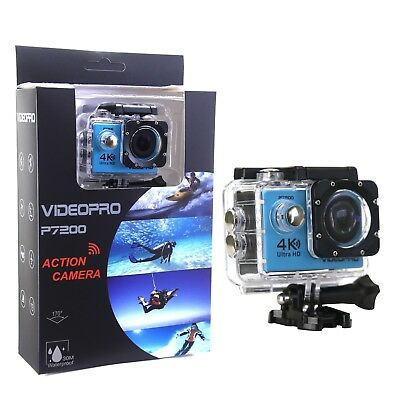 4K Ultra HD WIFI Waterproof Action Camera DV Camcorder 16MP 2 inch LCD Blue